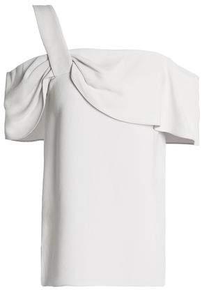 Tibi Cold-Shoulder Ruffle-Trimmed Crepe Top