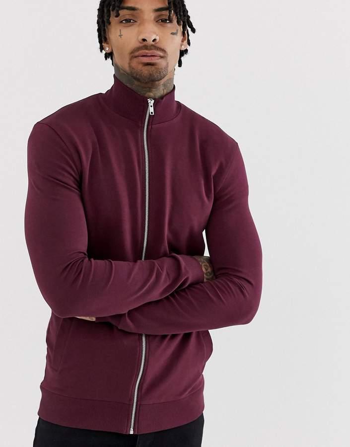 Asos Design DESIGN jersey muscle track jacket in deep purple