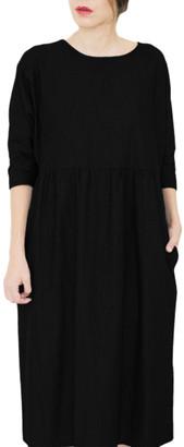 Attitude 157 - Long Black Casual Dress With Pockets - Titally - L - Black