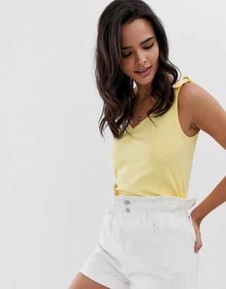 Esprit ribbed tie shoulder top in yellow