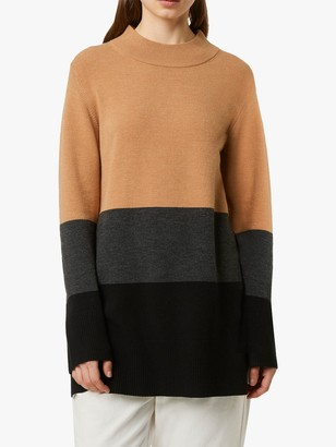 French Connection Normie Block Colour Knit Jumper, Camel/Black