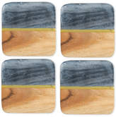 Thirstystone 4-Pc. Acacia Wood and Gray Marble Coaster Set