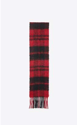 Saint Laurent Plaid Scarf In A Knit Wool Blend