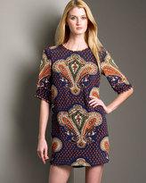 Beaded Paisley-Print Dress