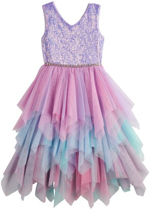 Knitworks Girls 4-16 & Plus Size Sequin Tiered Mesh Dress