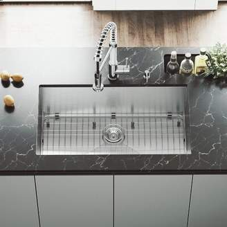 "Ludlow VIGO 32"" L x 19"" W Undermount Kitchen Sink with Edison Faucet, Grid, Strainer, Colander and Soap Dispenser VIGO"
