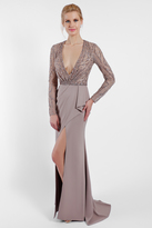 Terani Couture 1721M4338 Plunging V-Neck Sequined Evening Gown