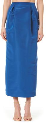 Carolina Herrera Pleated Silk Midi Skirt