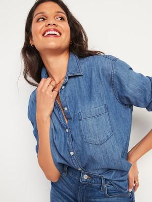 Old Navy Oversized Boyfriend Tunic Jean Shirt for Women