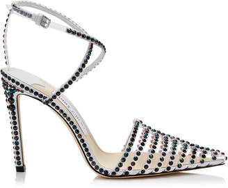 Jimmy Choo TAMAI 100 Clear Plexi Heels with Horizontal Straps and Petrol Hotfix Crystals