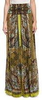 Etro Paisley Stud-Print Maxi Skirt, Citrine