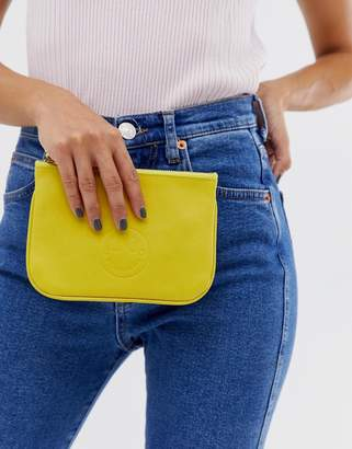 Hill & Friends Hill and Friends Happy Mini leather pouch in yellow