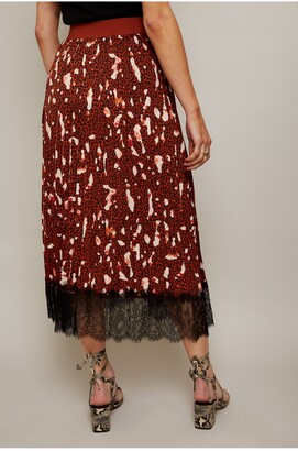 Little Mistress Francesca Rust Print Pleated Midi Skirt With Lace Trim