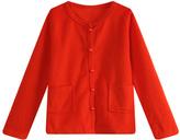 Red Lace-Back Cardigan - Toddler & Girls