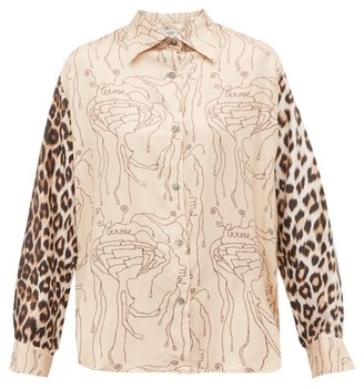 La Prestic Ouiston Varenne Abstract & Leopard-print Silk-twill Shirt - Womens - Beige Multi