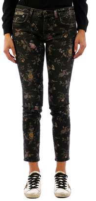 R 13 Flower Skinny Jeans Black