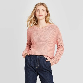 Knox Rose™ Women's Scoop Neck Pullover Sweater with Pointelle Sleeve Detail - Knox RoseTM