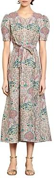 Sandro Irya Floral Print Midi Dress