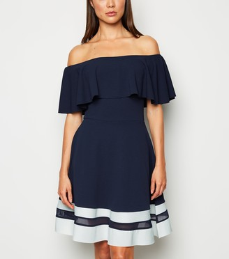 New Look Missfiga Stripe Hem Bardot Skater Dress