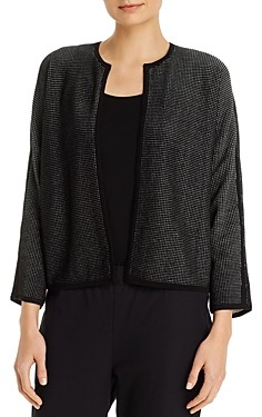 Eileen Fisher Round Neck Bracelet-Sleeve Cardigan