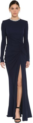 Alexander McQueen Long Embellished Viscose Jersey Dress