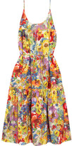 Stella McCartney Ruffled Floral-print Cotton And Silk-blend Dress - Red