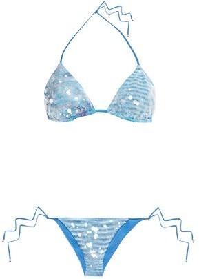 Missoni Mare Mare Sequin-embellished Crochet-knit Triangle Bikini