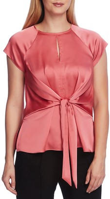 Vince Camuto Extended Shoulder Tie Front Keyhole Blouse