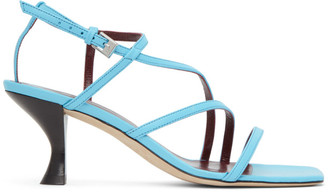 STAUD Blue Nappa Gita Heeled Sandals