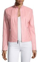 Neiman Marcus Stand-Collar Zip-Front Leather Jacket, Watermelon