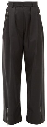 Edward Crutchley Zipped-cuff Wide-leg Wool-twill Trousers - Womens - Black