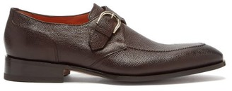 Santoni Single Monk-strap Pebbled-leather Shoes - Brown