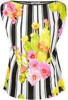 Blugirl cactus print striped blouse