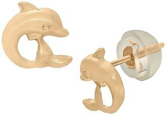 Tiara Kid' Dolphin tud Earring in 14K