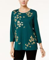 Alfred Dunner Emerald Isle Metallic Leaf-Print Top
