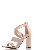 Quiz Nude And Rose Gold Multi Strap Block Heel Sandals