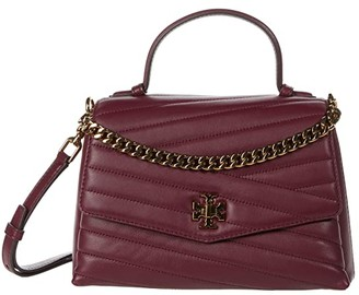 Tory Burch Kira Chevron Top-Handle Satchel (Imperial Garnet) Handbags