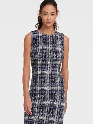 DKNY Women's Checked Sheath Dress With Asymmetrical Placket - Blue - Size 14