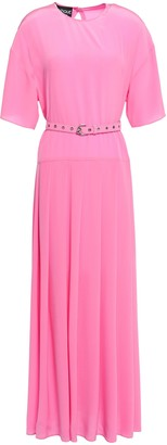 Boutique Moschino Belted Ruffled Crepe De Chine Maxi Dress