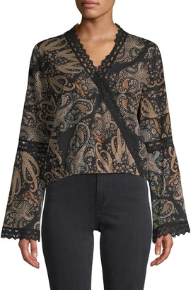 Cupcakes And Cashmere Paisley-Print V-Neck Top