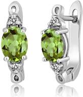 Gem Stone King 2.79 Ct Oval Green Peridot White Diamond 925 Sterling Silver Three Stone Earrings