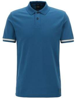Slim-fit polo shirt with knitted-logo undercollar