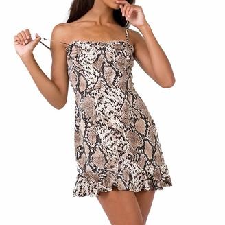 iHAZA Party Club Women Slash Neck Snake Skin Print Ruffles Hem Mini Strap Dress Brown
