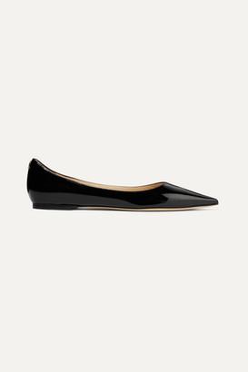 Jimmy Choo Love Patent-leather Point-toe Flats - Black