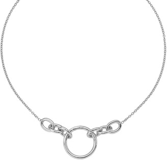 Italian Silver Graduated Link Necklace, 11.0g