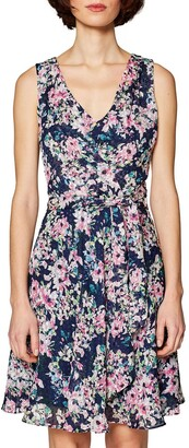 Esprit Floral Print Sleeveless Dress with Tie-Waist