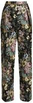 Preen by Thornton Bregazzi Maggie Floral Jacquard Wide-leg Trousers - Womens - Black Multi
