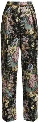 Preen by Thornton Bregazzi Maggie Floral Jacquard Wide-leg Trousers - Black Multi