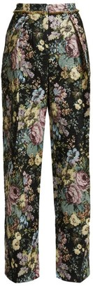 Preen by Thornton Bregazzi Maggie Floral Jacquard Wide-leg Trousers - Womens - Black Multi