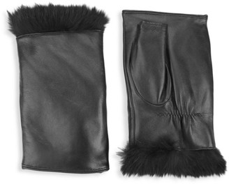 Glamour Puss Rabbit Fur & Leather Fingerless Mittens